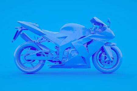 Motorbike isolated on blue background. 3d rendering.