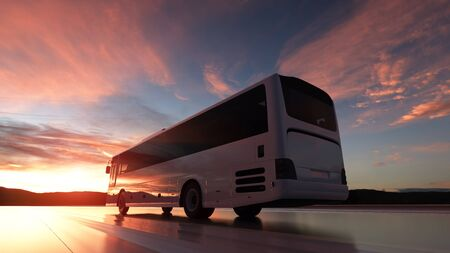 Tourist bus driving on a highway at sunset backlit by a bright orange sunburst. 3d rendering.