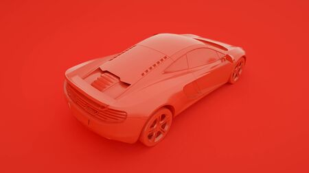 Sports car isolated on red background. 3d rendering.