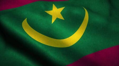 Mauritania flag waving in the wind. National flag of Mauritania. Sign of Mauritania. 3d rendering. Фото со стока