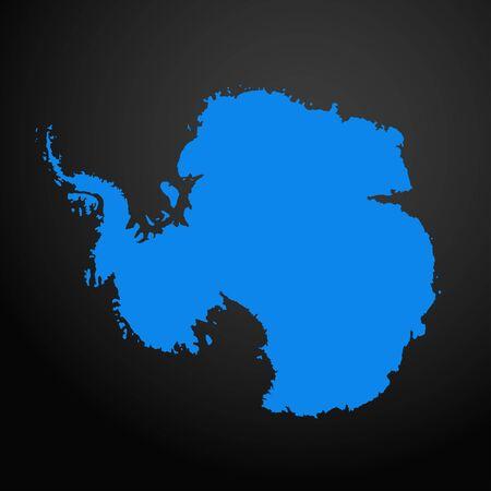 Antarctica map icon isolated on black background. Travel worldwide icon. Ilustracje wektorowe