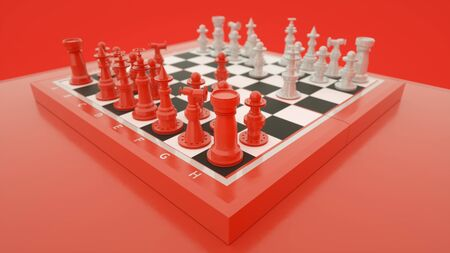 Red and white chess, concept of business strategy and tactic battle, success, victory. 3d rendering.