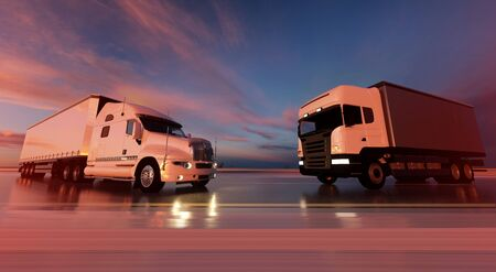 Two trucks on the road. Transports, logistics concept. 3d rendering 写真素材
