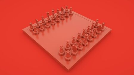 Red chess, concept of business strategy and tactic battle, success, victory. 3d rendering.