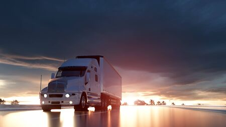 Semi trailer. Truck on the road, highway. Transports, logistics concept. 3d rendering