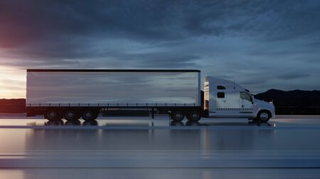 Semi trailer, Truck on the road, highway. Transports, logistics concept. 3d rendering 写真素材