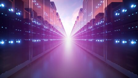 Cloud computing and computer networking business communication concept. 3d rendering of rows of network servers in data center against blue sky with clouds.