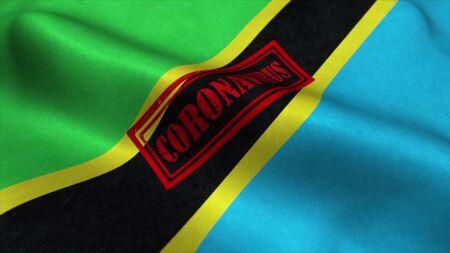 Coronavirus stamp on the flag of Tanzania. Coronavirus concept. 3d rendering. Stock fotó
