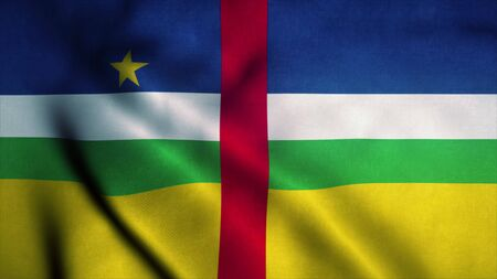 Central African Republic flag waving in the wind. Sign of Central African Republic. 3d rendering. 版權商用圖片