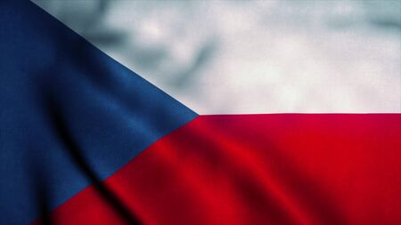 Czech Republic flag waving in the wind. National flag of Czech Republic. Sign of Czech Republic. 3d rendering.