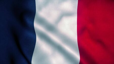 France flag waving in the wind. National flag of France. Sign of France. 3d rendering.