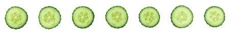 Set of slices of cucumber top view. Isolated on a white background.