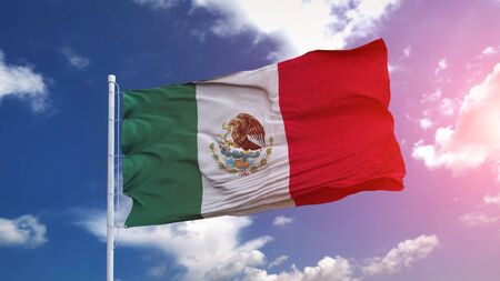 Mexican national flag waving on the blue sky with beautiful sunlight. 3d illustration. 写真素材