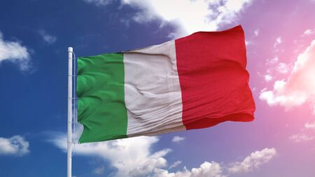 Italy national flag waving on the blue sky with beautiful sunlight. 3d illustration.