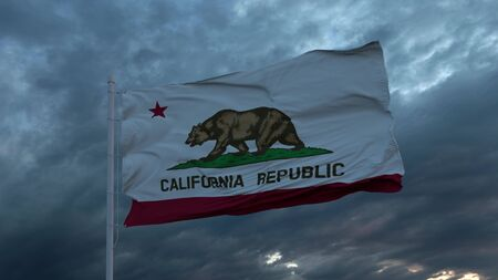 Realistic flag of California waving in the wind against deep heavy stormy sky.
