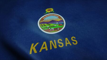 State flag of Kansas waving in the wind. 3d rendering.