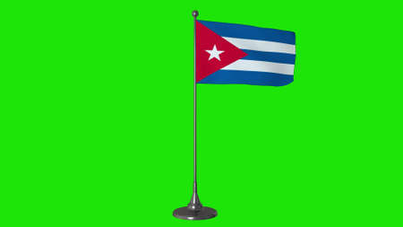 Cuba small flag fluttering on a flagpole. Green screen background. 3d rendering