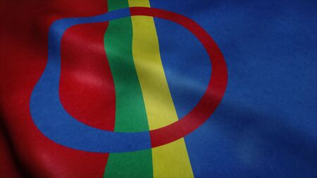 Flag of Sami Scandinavia waving in wind. Realistic flag background. 3d rendering.