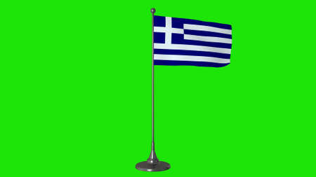Greece small flag fluttering on a flagpole. Green screen background, 3d rendering.