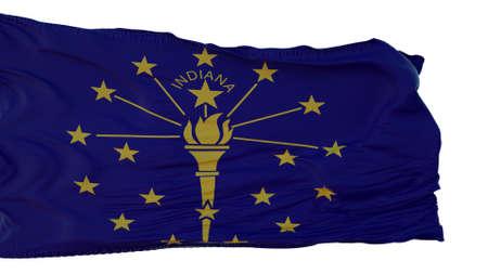 Indiana Flag isolated on white background. 3d illustration