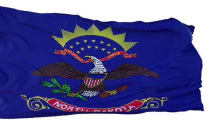 North Dakota Flag isolated on white background. 3d illustration