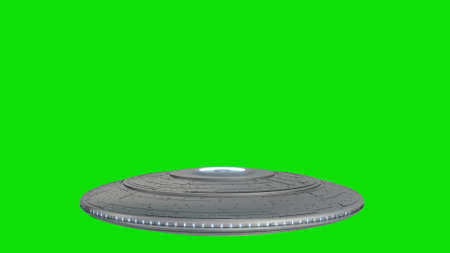 Alien flying saucer isolated on green screen background. 3d rendering