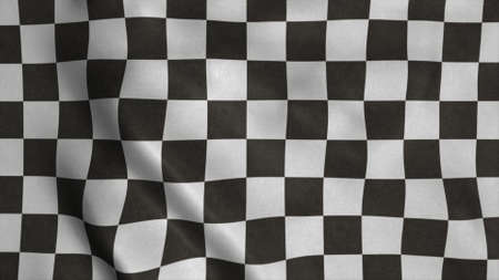 Checkered Racing flag. Racing Chequered Flag Waving in Wind. 3d rendering Фото со стока