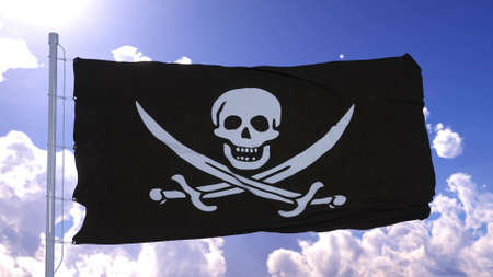 Realistic Pirate flag waving in wind against blue sky. 3d rendering