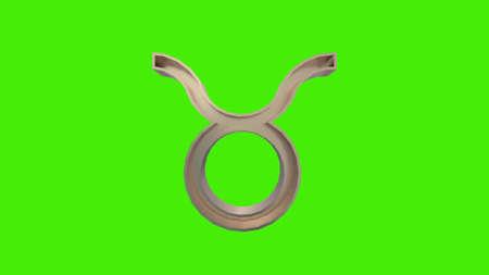 Golden Taurus (Bull) Astrological Zodiac sign on a green screen. 3d rendering