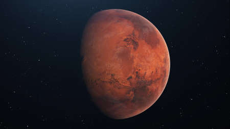 Mars in space. Photo realistic 3d rendering Stock Photo
