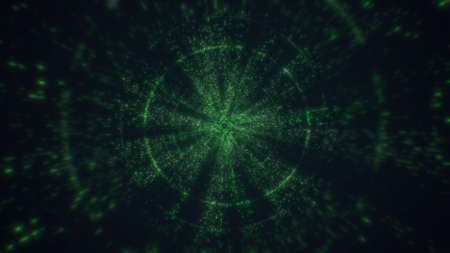 Technology Tunnel, Digital Lines, Big Data. 3d rendering flying into digital technologic tunnel