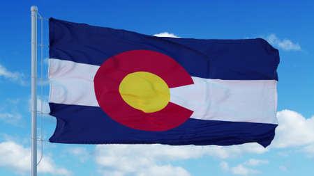 Colorado waving in the wind, blue sky background. 3d rendering