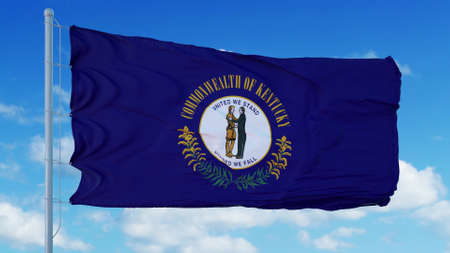 Kentucky flag on a flagpole waving in the wind, blue sky background. 3d rendering