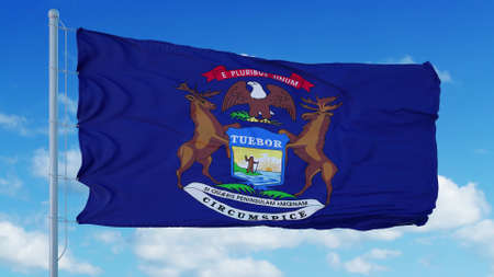 Michigan flag on a flagpole waving in the wind, blue sky background. 3d rendering