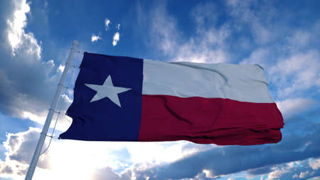 Texas flag on a flagpole waving in the wind, blue sky background. 3d rendering Stock Photo