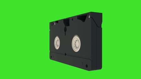 VHS cassette. Video cassette isolated on green screen. 3d rendering