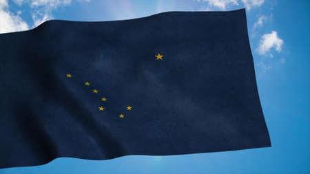 Alaska flag waving in the wind, blue sky background. 3d rendering