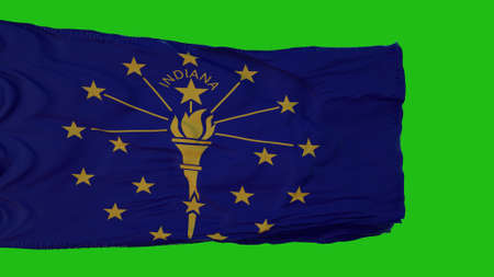 Flag of Indiana on Green Screen. Perfect for your own background using green screen. 3d rendering