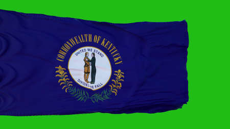 Flag of Kentucky on Green Screen. Perfect for your own background using green screen. 3d rendering