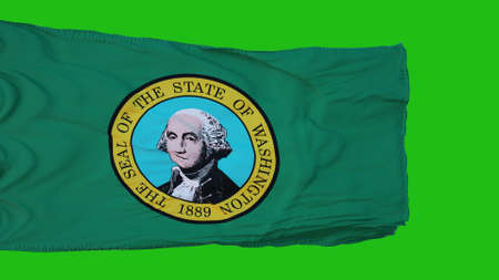 Flag of Washington on Green Screen. Perfect for your own background using green screen. 3d rendering