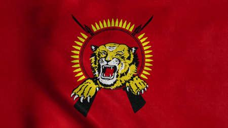 Flag of Tamil Eelam, waving in wind. Realistic flag background. 3d illustration Stok Fotoğraf