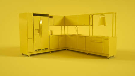 Kitchen 3D Interior isolated on yellow background. 3d rendering