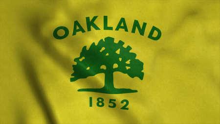 Flag of Oakland city, city of United States of America. 3d illustration Stok Fotoğraf