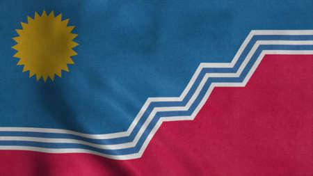 Flag of Sioux Falls, city of South Dakota, United States of America. 3d illustration Stok Fotoğraf