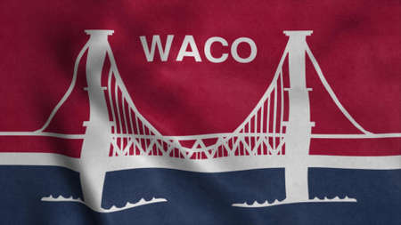 Flag of Waco, county seat of Texas, United States of America. 3d illustration