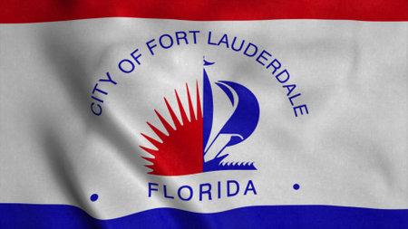 Fort Lauderdale flag, Florida, United States of America. 3d illustration Stok Fotoğraf - 167720199