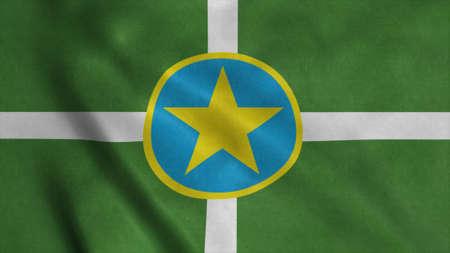 Jackson city flag, Mississippi state, United States of America. 3d illustration