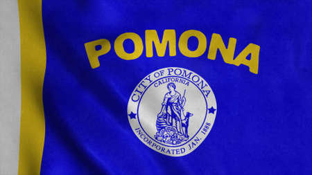 Pomona city flag, California, United States of America. 3d illustration Stok Fotoğraf - 167720237