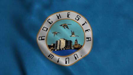 Rochester city flag, Minnesota state, United States of America. 3d illustration