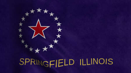 Springfield flag, Illinois, United States of America. 3d illustration